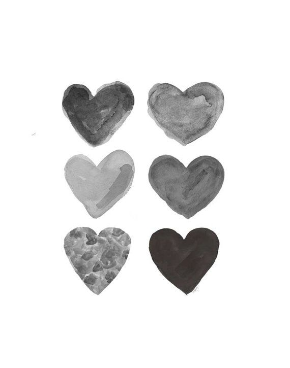 "A mysterious collection of black watercolor hearts created from my original watercolor paintings. ♥Details♥ Paper size is 11"" x 14"""