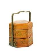 Cos decorativ din lemn, imbracat in piele si pictat in nuante de orange - Exotique.ro