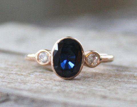 1.72 Cts. Cornflower Blue Sapphire Diamond Ring in 14K Rose Gold