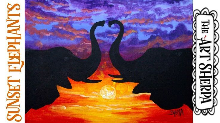 Easy Sunset Elephants In Love Acrylic Painting Tutorial Step By