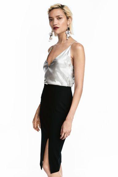 Fémesen csillámló felső - Ezüstszínű - NŐI | H&M HU 1