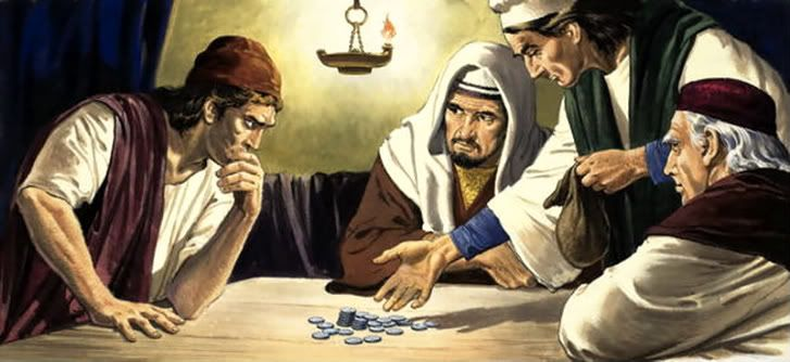 Image result for Judas receiving silver coins