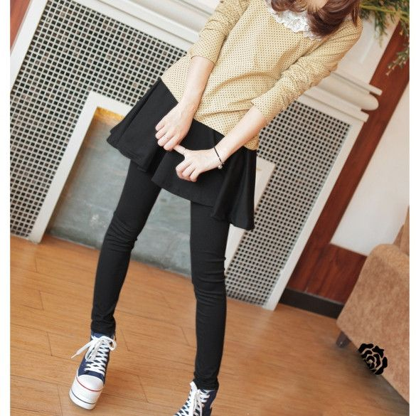 New Fashion Womens New Sweet Lovely Brief Pleated Skirt And Slim Fit Leggings Fake Two Pieces