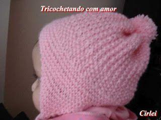 Tricochetando com amor: Gorro tapa orelhinhas em tricô Laura