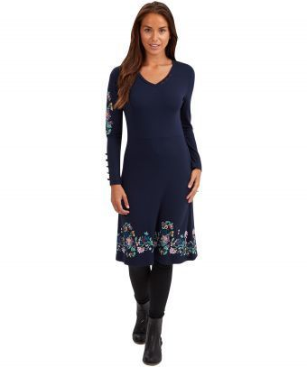 """Add your own signature style in this fabulous jersey dress, which has an intricate printed hem that adds a Joe Browns edge. Dress it up your way with a statement necklace or one of our gorgeous scarves. Approx Length: 104cm Our model is: 5'7"""""""