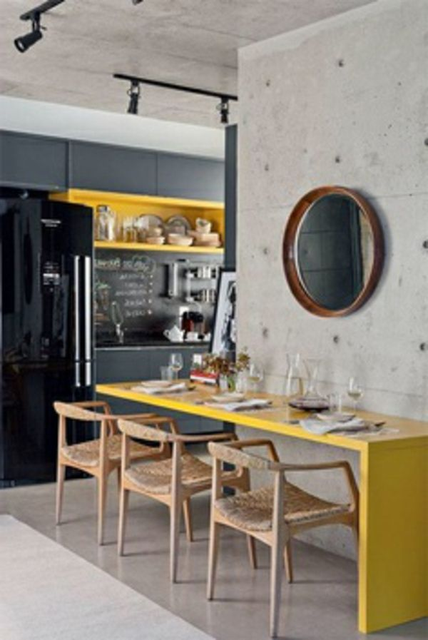 Modern kitchen with black front and yellow accents, exposed concrete walls. Love the chairs! I would do turquoise or some natural massive wood instead of the yellow color #LGLimitlessDesign #Contest