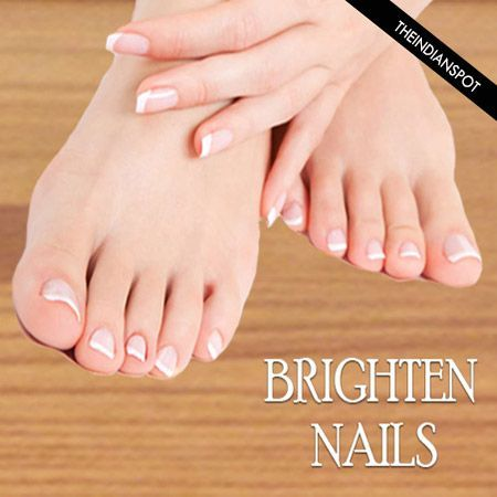 Brighten yellow, stained nails