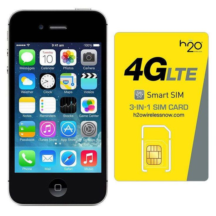 Refurbished Apple iPhone 4 AT&T Black 16GB & H20 4G LTE SIM Card (3GB Data Included)