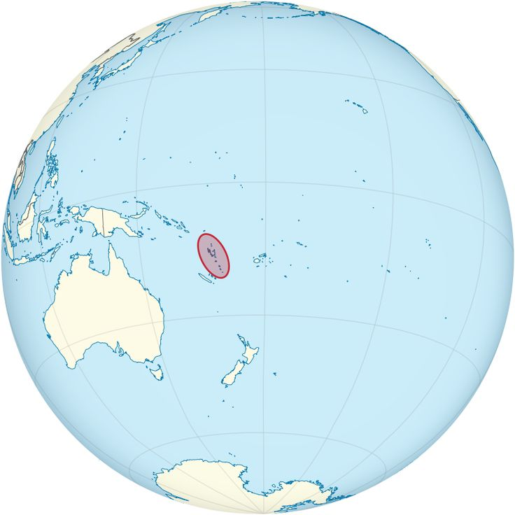 Vanuatu on the globe (Polynesia centered)