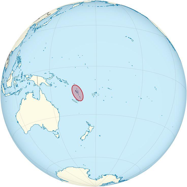 Vanuatu on the globe (Polynesia centered)