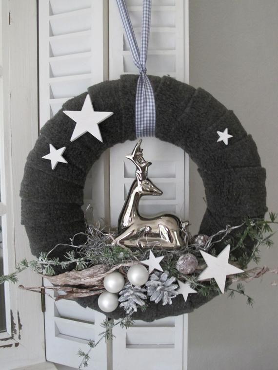 Turkranz Rudolf Weihnachtskranz Adventskranz Schwarz Weiss Silber Weihnachtskranz Weihnachten Dekoration Adventskranz
