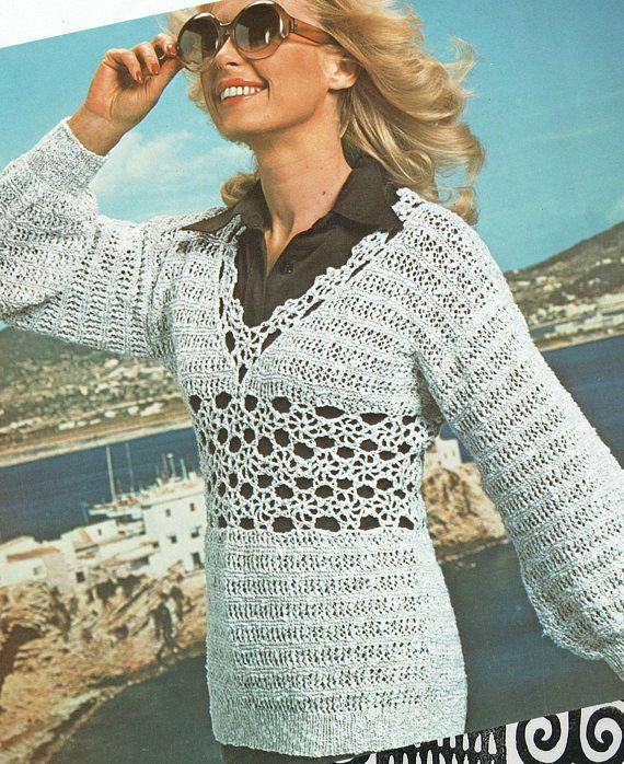 PDF Womens Ladies Crochet & Knitting Pattern Tunic Dress