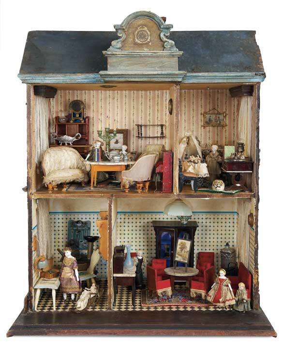 View Catalog Item   Theriaults Antique Doll Auctions   Petite Early Wooden  Dollhouse With Furnishings And Family