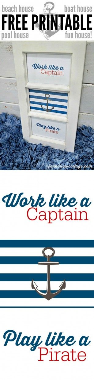 Free Printable DIY Nautical Wall Art Work - Work Like A Captain Play Like A Pirate - Red White Blue