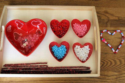 Montessori ValentinesPractice Life, Valentine Crafts, Valentine Day Crafts, Hanging Heart, Valentine Day Gift, Pipe Cleaners, Montessori Ory, Beads Heart, Fine Motors