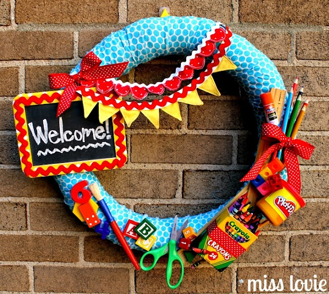 DIY Back to School Wreath - by far, my favorite!  So cute!  So fun for the kids to see on our door when school starts!