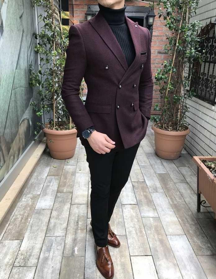 21d95f757fa87 Terziademaltun - İtalyan stil erkek blazer tek ceket slim fit bordo T2930