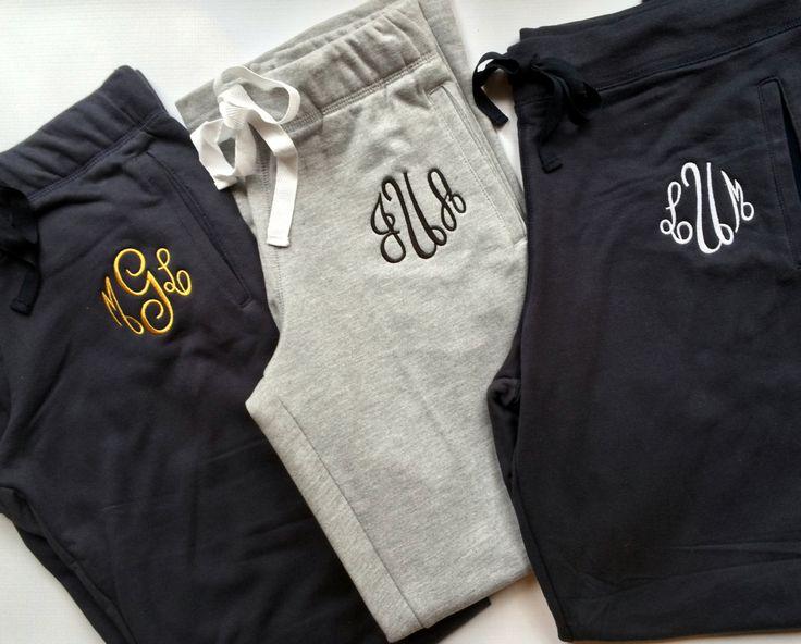 Monogrammed Gifts, Monogram Sweatpants, Monogrammed Sweat pants, Bridesmaid gift, Dancewear, Cheerleader, Sweatpants, Warm ups by PoshPrincessBows1 on Etsy