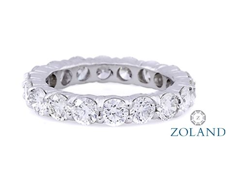 Round Diamond Eternity Band set in a shared prong setting #diamond #ring