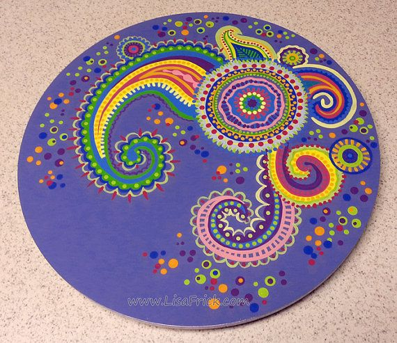 Lazy Susan Hand Painted 18 Diameter Paisley Pattern by LisaFrick, $130.00