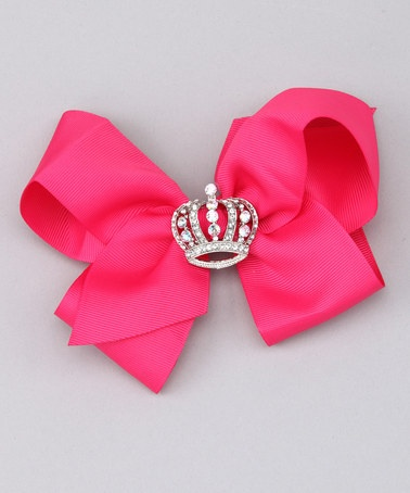 Hot Pink Crown Bow  by Sparkle Couture