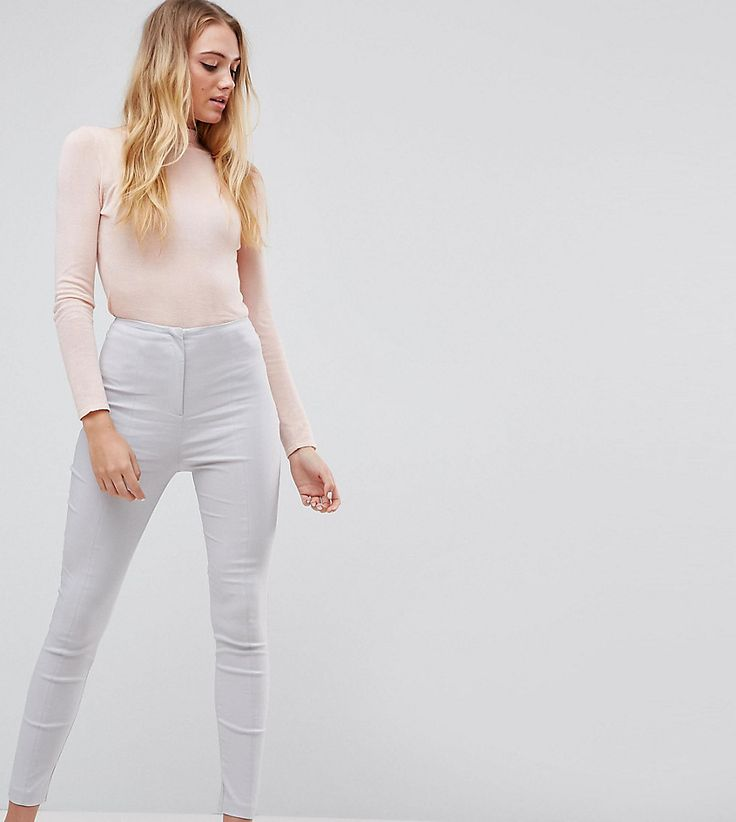 ASOS TALL High Waist Pants In Skinny Fit - Silver