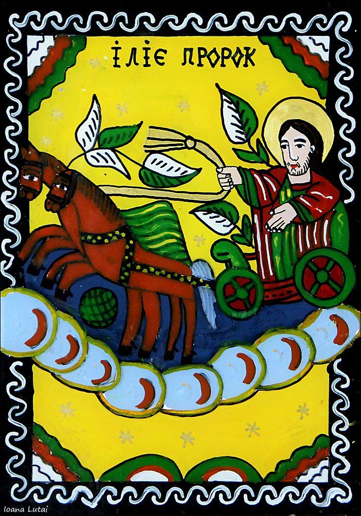 Sfantul Ilie - Icoane pe sticla Sapanta - Ioana Lutai - foto Cristina Nichitus Roncea http://icoanepesticla-sapanta.ro