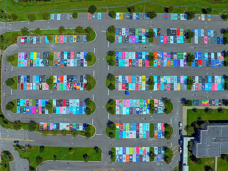 This is so cool! Students at West Orange High School in Winter Garden, Florida, painted their own parking spots!