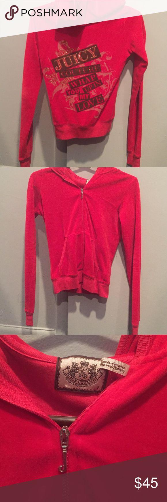 Juicy Couture velour zip-up Red velour zip up. Size Petite. Juicy Couture Tops Sweatshirts & Hoodies