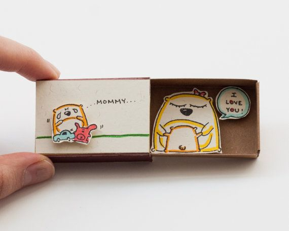 Mother Card Mommy I love you Matchbox/ Gift box / by 3XUdesign