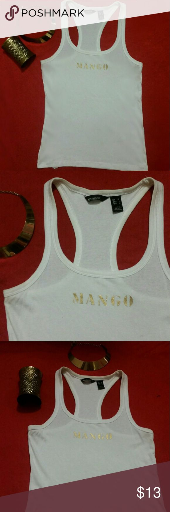 """3"" Pieces! Women Mango Logo Tank & Jewerly set! White Mango Logo tank Top size: S(USED) with Necklace & cuff Gold Bracelet set(NEW) Mango Tops Tank Tops"