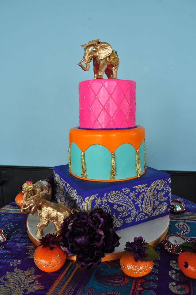 Painted Indian Elephant Cake www.popbyyaz.com #wedding #babyshower #birthday