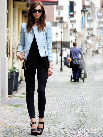 Light Blue Collarless Leather Look Biker Jacket With Zipper Detail | Choies
