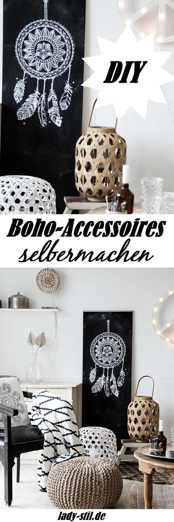 Boho Accessoires einfach selbermachen! Tolles DIY mit WOW-Effekt! Traumfänger auf Tafelwand!