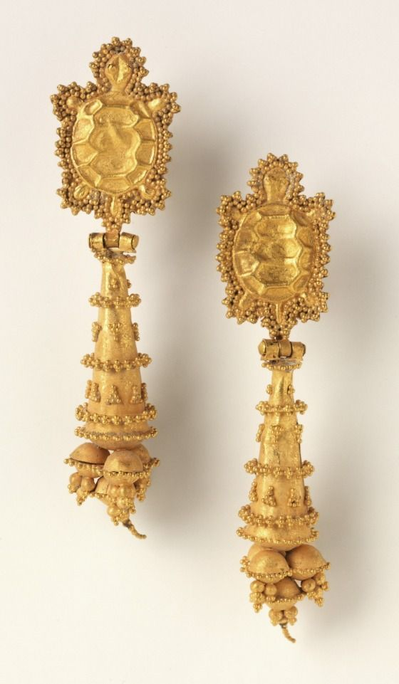 Pair of Earrings with Tortoises, Pakistan, Taxila region (?), 1st-2nd century Jewelry and Adornments; earrings Repoussé and cast gold 2 1/4 x 1/2 x 3/8 in. (5.72 x 1.27 x .95 cm)