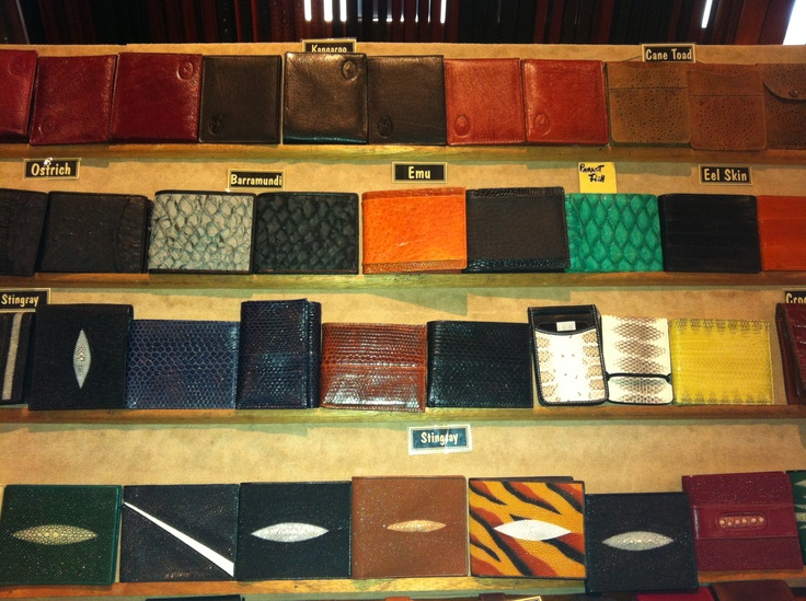 Various leather types available....Kangaroo, Cane Toad, Ostrich, Barramundi, Emu, Parrot Fish, Eel Skin, Stingray, Crocodile, Sea Snake and more
