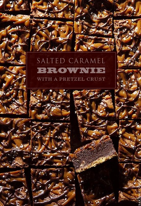 Recipe For Salted Caramel Brownie with a Pretzel Crust - Pretzel bottom crust, rich brownie- simple, unfussy and totally indulgent drizzle of caramel and melted chocolate!