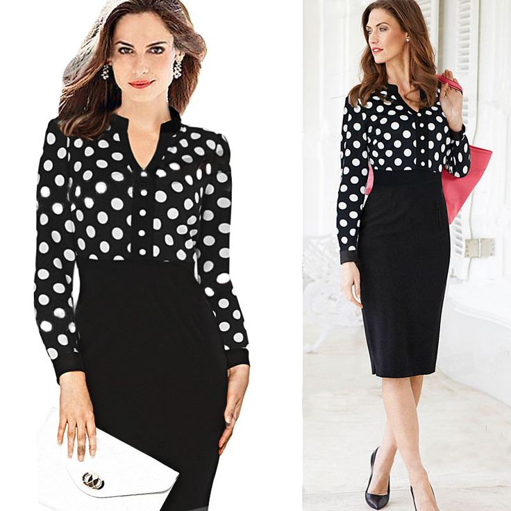 Cheap dress berry, Buy Quality dress room directly from China dress asymmetrical Suppliers: 2015 Spring Autumn Women Dress Polka Dot Business Work Casual Dresses Office Party Cocktail Smart Laides Dress NP-12-
