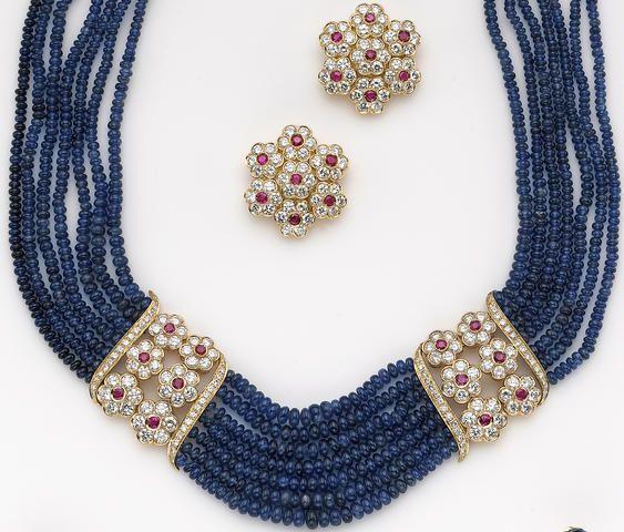 A set of sapphire, ruby, diamond and eighteen karat gold jewelry