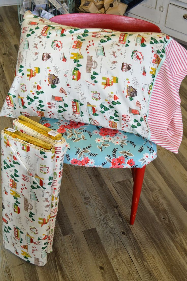 Christmas Pillowcase with Santa's Village