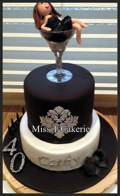 40th Birthday Cake , Love this but I would remove the lady off the top and add glitter numbers in 40. Makes is more Posh!!