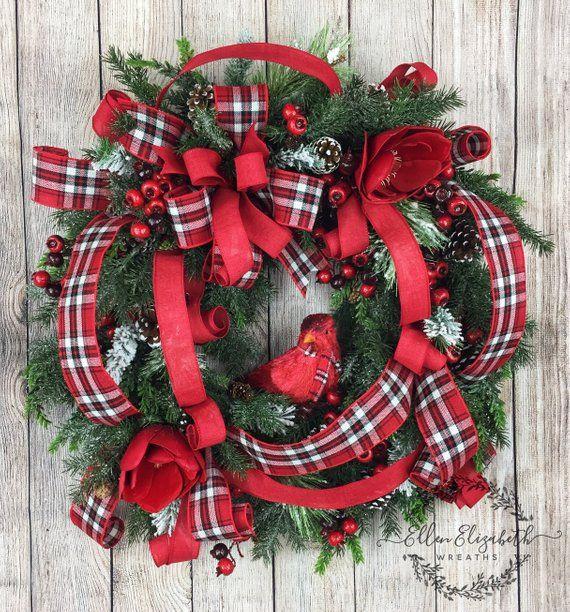 Christmas Wreaths For Front Door Cardinal Wreath Winter Wreath Red Cardinal Wreath Christmas Wreaths Diy Christmas Wreaths Christmas Wreaths For Front Door