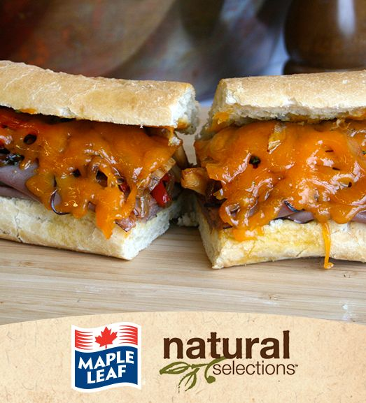 Cheese Steak Stuffed Baguettes #NaturalSelections @Maple Leaf®