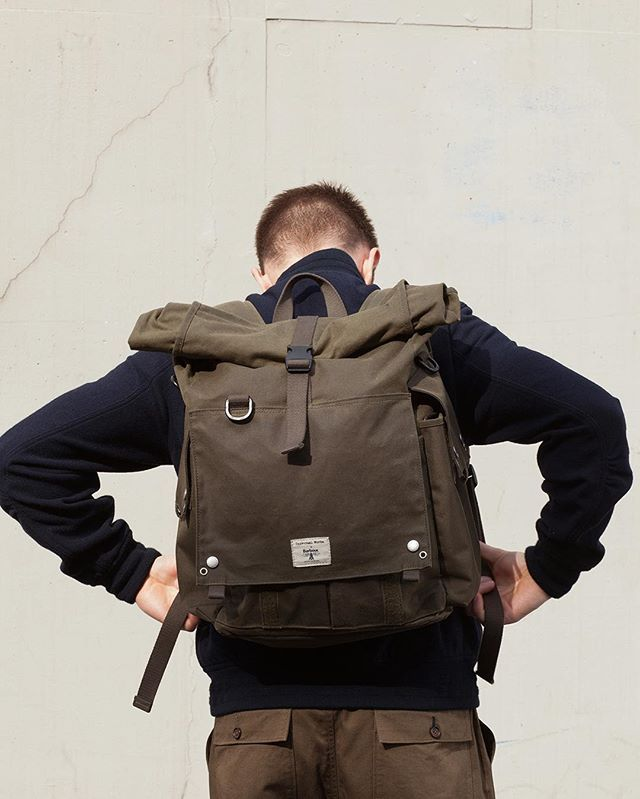 WEBSTA @ universal_works - Designed in collaboration with @Barbour, drawing inspiration from a Barbour archival piece made for an army captain in the 1980's, we have created a contemporary version of their roll top backpack.-