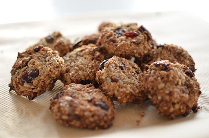 havermout koekjes met cranberries, zonnebloempitten en kokos
