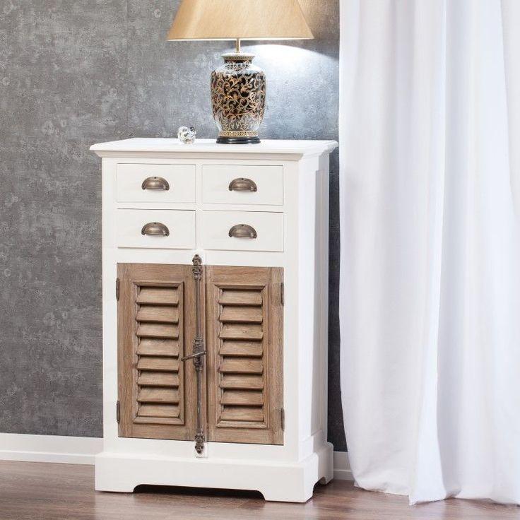 Komoda Brighton 4 szuflady + drzwi z drewna tekowego 70x40x111cm #komoda #meble #furniture #design #modern #livingroom #ideas #inspiration