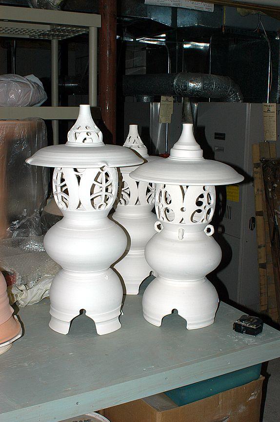 High Quality Bisque Fired Porcelain Lanterns Awaiting Glaze Firing.