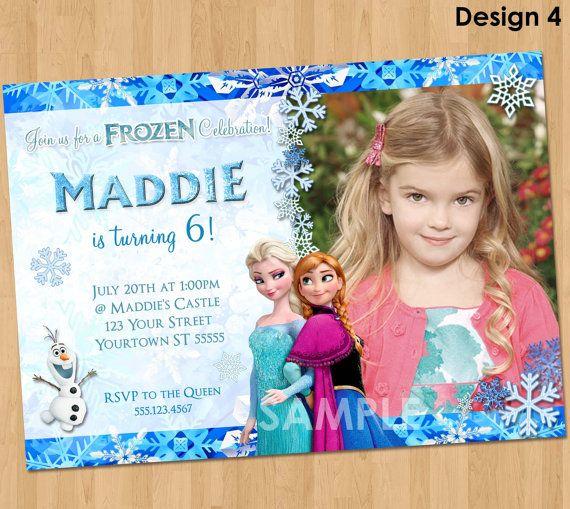 Printable Frozen Invitation Birthday With Photo Elsa Anna Disney Party Invites Ideas Olaf Snowflake 4x6 O