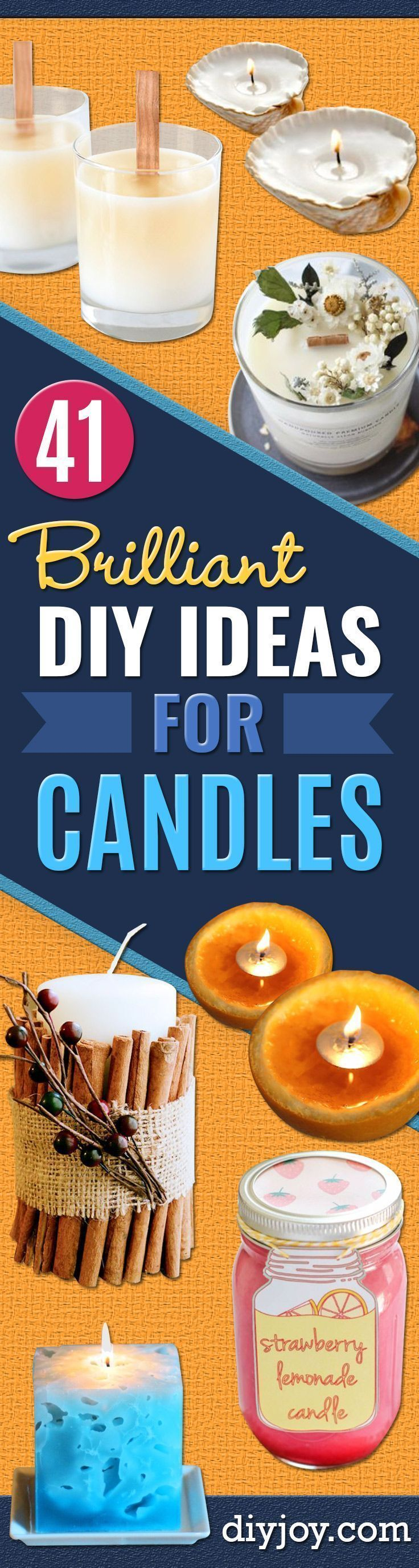 DIY Ideas for Candles - Cute, Cheap and Creative Ways to Decorate With Candles - Votives and Candle Holders Make Some Of Our Favorite Home Decor Ideas and Homemade Do It Yourself Gifts - Give One of These Inexpensive Ideas to Mom, Dad and Friends - Easy Dollar Store Crafts With Candle http://diyjoy.com/diy-ideas-candles #candlemakingideas