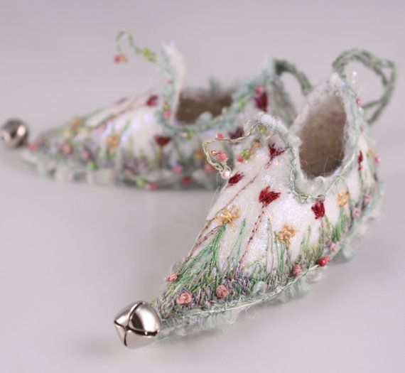 magical Ornament Fairy Shoes white green red tulip meadow faerie elf shoe walk in the garden floral flower miniature footwear ornament